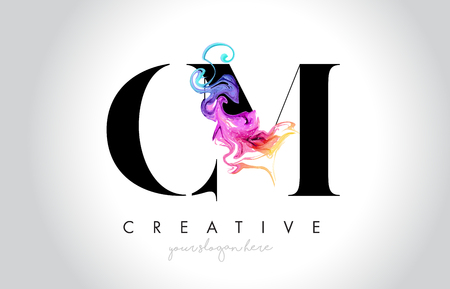 CM Vibrant Creative Leter Logo Design with Colorful Smoke Ink Flowing Vector Illustration.