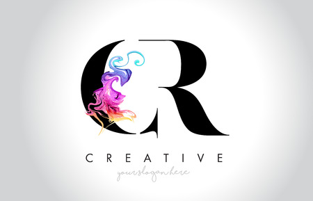 CR Vibrant Creative Leter Logo Design with Colorful Smoke Ink Flowing Vector Illustration.
