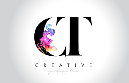 CT Vibrant Creative Leter Logo Design with Colorful Smoke Ink Flowing Vector Illustration. Logó