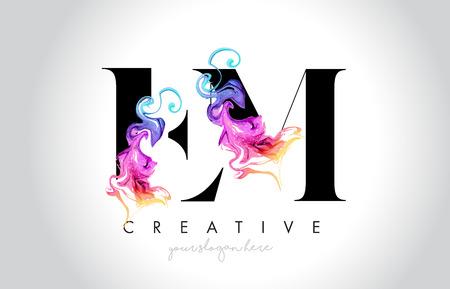 EM Vibrant Creative Leter Logo Design with Colorful Smoke Ink Flowing Vector Illustration. Logó