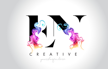 EN Vibrant Creative Leter Logo Design with Colorful Smoke Ink Flowing Vector Illustration.