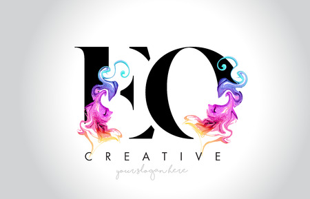 EO Vibrant Creative Leter Logo Design with Colorful Smoke Ink Flowing Vector Illustration.