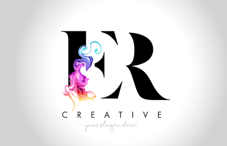 ER Vibrant Creative Leter Logo Design with Colorful Smoke Ink Flowing Vector Illustration.