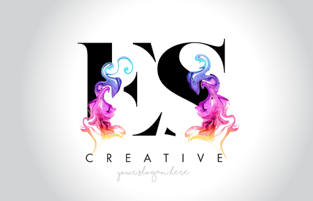 ES Vibrant Creative Leter Logo Design with Colorful Smoke Ink Flowing Vector Illustration.