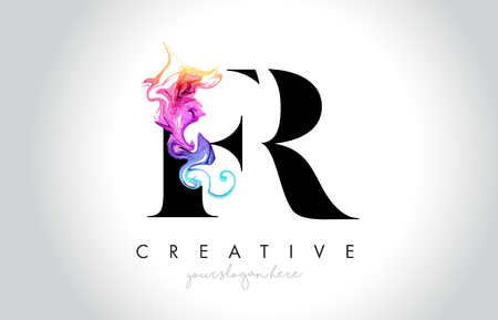 FR Vibrant Creative Leter Logo Design with Colorful Smoke Ink Flowing Vector Illustration. Logo