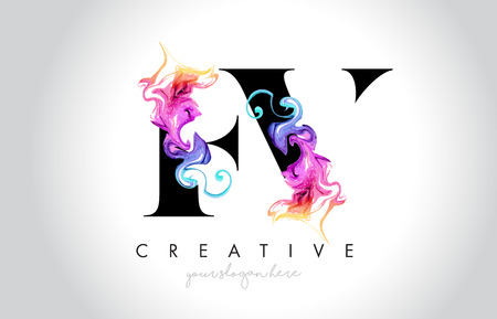 FV Vibrant Creative Leter Logo Design with Colorful Smoke Ink Flowing Vector Illustration.