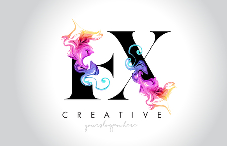 EX Vibrant Creative Leter Logo Design with Colorful Smoke Ink Flowing Vector Illustration. Logo