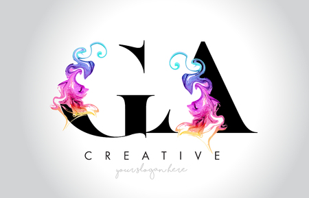 GA Vibrant Creative Leter Logo Design with Colorful Smoke Ink Flowing Vector Illustration.