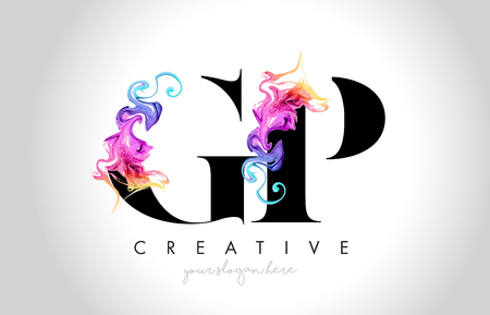 GP Vibrant Creative Leter Logo Design with Colorful Smoke Ink Flowing Vector Illustration.