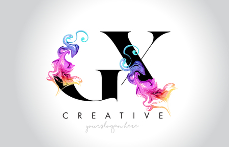 GX Vibrant Creative Leter Logo Design with Colorful Smoke Ink Flowing Vector Illustration. Logó