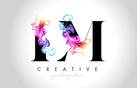 LM Vibrant Creative Leter Logo Design with Colorful Smoke Ink Flowing Vector Illustration.