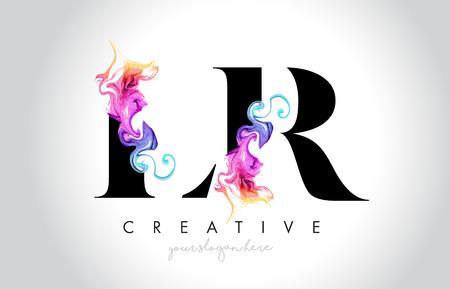 LR Vibrant Creative Leter Logo Design with Colorful Smoke Ink Flowing Vector Illustration.