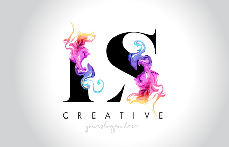 LS Vibrant Creative Leter Logo Design with Colorful Smoke Ink Flowing Vector Illustration.