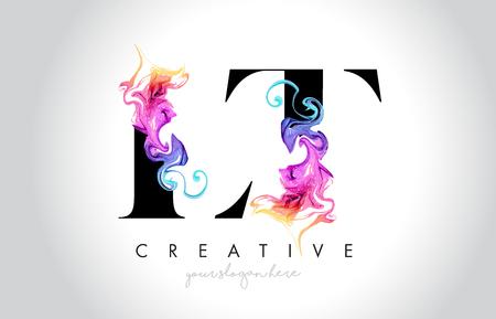 LT Vibrant Creative Leter Logo Design with Colorful Smoke Ink Flowing Vector Illustration. Logó
