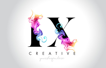 LX Vibrant Creative Leter Logo Design with Colorful Smoke Ink Flowing Vector Illustration.