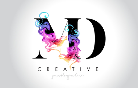 MD Vibrant Creative Leter Logo Design with Colorful Smoke Ink Flowing Vector Illustration.