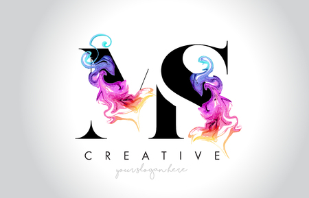 MS Vibrant Creative Leter Logo Design with Colorful Smoke Ink Flowing Vector Illustration. 向量圖像