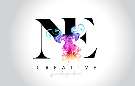 NE Vibrant Creative Leter Logo Design with Colorful Smoke Ink Flowing Vector Illustration.