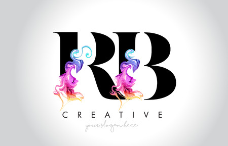 RB Vibrant Creative Leter Logo Design with Colorful Smoke Ink Flowing Vector Illustration.