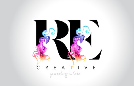RE Vibrant Creative Leter Logo Design with Colorful Smoke Ink Flowing Vector Illustration. Logo