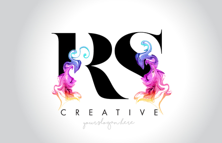 RS Vibrant Creative Leter Logo Design with Colorful Smoke Ink Flowing Vector Illustration.