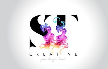 ST Vibrant Creative Leter Logo Design with Colorful Smoke Ink Flowing Vector Illustration. Logó