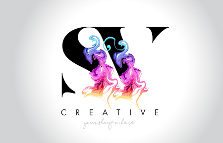 SV Vibrant Creative Leter Logo Design with Colorful Smoke Ink Flowing Vector Illustration.