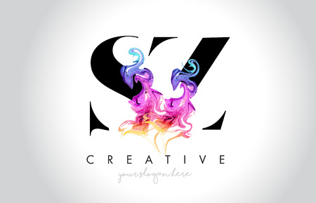 SZ Vibrant Creative Leter Logo Design with Colorful Smoke Ink Flowing Vector Illustration.