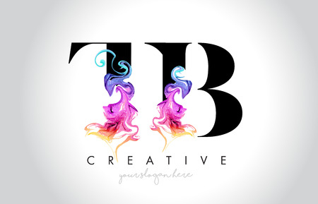 TB Vibrant Creative Leter Logo Design with Colorful Smoke Ink Flowing Vector Illustration.