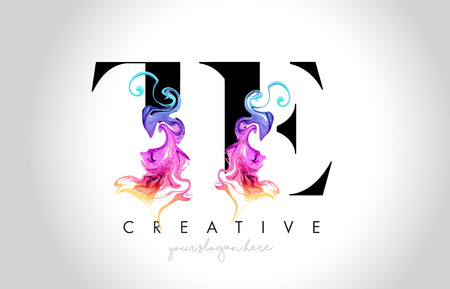 TE Vibrant Creative Leter Logo Design with Colorful Smoke Ink Flowing Vector Illustration.