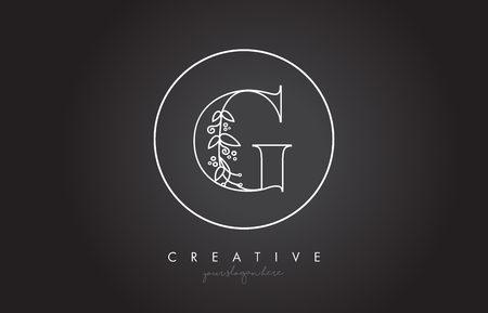 G Letter Logo With Organic Monogram Plant Leafs Detail and Circle Design. Creative Letter Icon Logo. Illustration