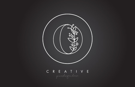 O Letter Logo With Organic Monogram Plant Leafs Detail and Circle Design. Creative Letter Icon Logo.