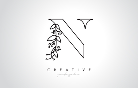 N Letter Logo With Organic Monogram Plant Leafs Detail and Circle Design. Creative Letter Icon Logo.