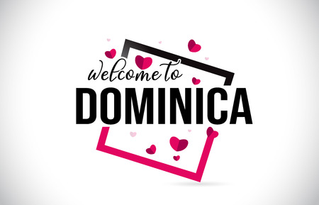 Dominica Welcome To Word Text with Handwritten Font and  Red Hearts Square Design Illustration Vector. 向量圖像