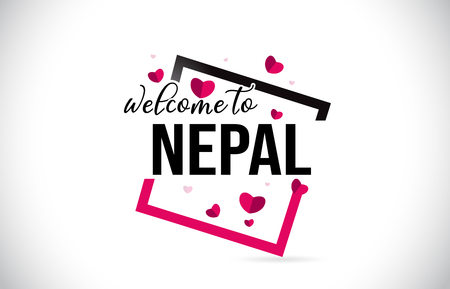 Nepal Welcome To Word Text with Handwritten Font and  Red Hearts Square Design Illustration Vector. Ilustração