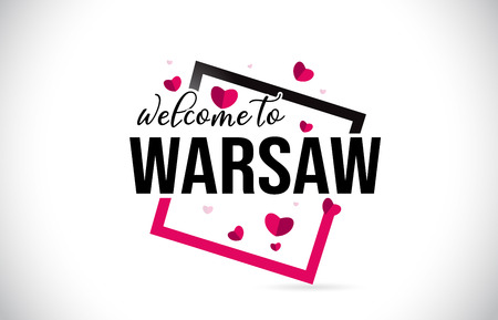 Warsaw Welcome To Word Text with Handwritten Font and  Red Hearts Square Design Illustration Vector. Stock Illustratie