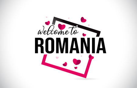Romania Welcome To Word Text with Handwritten Font and  Red Hearts Square Design Illustration Vector.