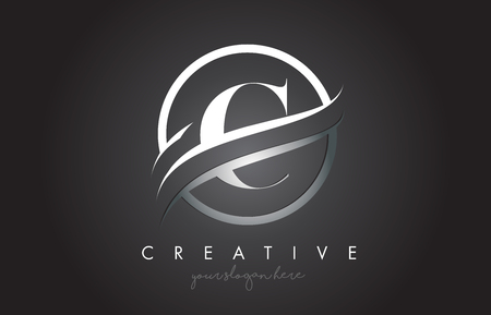 C Letter Icon Logo Design with Circle Steel Swoosh Border and Metal Texture. Creative C Design Vector Illustration.