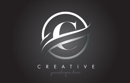 Diseño de logotipo de icono de letra C con borde circular Swoosh de acero y textura de metal. Ilustración de Vector de diseño creativo C.