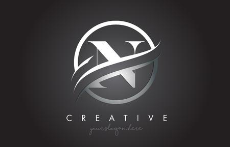 Projektowanie Logo ikona litery N z obramowaniem Swoosh ze stali koło i tekstury metalu. Ilustracja wektorowa Creative N Design. Logo