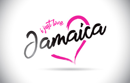 Jamaica I Just Love Word Text with Handwritten Font and Pink Heart Shape Vector Illustration. Standard-Bild - 116186648