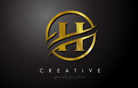 H Golden Letter Logo Design with Circle Swoosh and Gold Metal Texture. Creative Metal Gold H Letter Design Vector Illustration.
