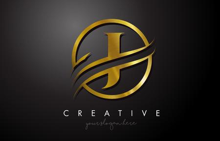 Création de logo de lettre d'or J avec cercle Swoosh et texture en métal doré. Creative Metal Or J Lettre Design Illustration Vectorielle.