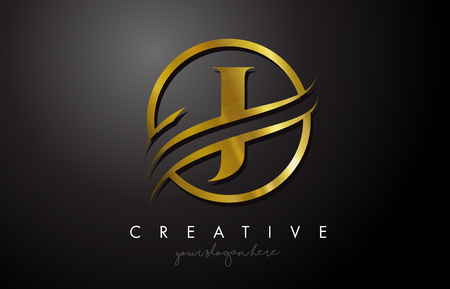J Golden Letter Logo Design with Circle Swoosh and Gold Metal Texture. Creative Metal Gold J Letter Design Vector Illustration.