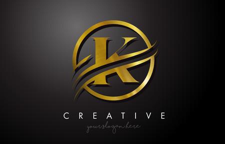 Création de logo K Golden Letter avec cercle Swoosh et texture en métal doré. Creative Metal Gold K lettre Design Illustration vectorielle.