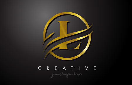Création de logo en lettre L Golden avec cercle Swoosh et texture en métal doré. Creative Metal Gold L Lettre Design Illustration Vectorielle. Logo