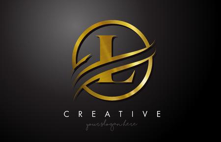 Projektowanie Logo Złote litery L z kołem Swoosh i złota metalowa tekstura. Creative Metal Gold L list projekt ilustracji wektorowych. Logo