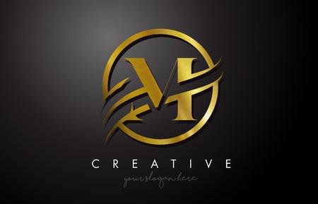 Création de logo de lettre d'or M avec cercle Swoosh et texture en métal doré. Creative Metal Gold M Lettre Design Illustration vectorielle.