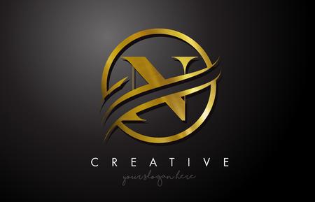 Création de logo en lettre d'or N avec cercle Swoosh et texture en métal doré. Creative Metal Gold N Lettre Design Illustration vectorielle.