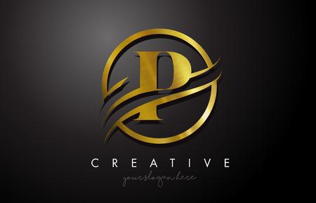 Création de logo de lettre d'or P avec cercle Swoosh et texture en métal doré. Illustration vectorielle de conception de lettre P or métal créatif.
